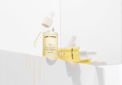 Nude by Nature Renewal Daily Facial Oil and Bioactive Rosehip Oil.